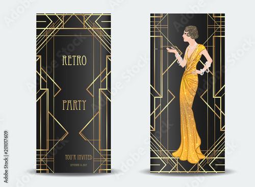 art deco vintage invitation template design with illustration of