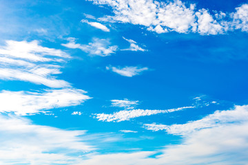 Blue sky background with tiny clouds on season summer.