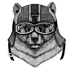 Black bear Animal wearing motorycle helmet. Image for kindergarten children clothing, kids. T-shirt, tattoo, emblem, badge, logo, patch
