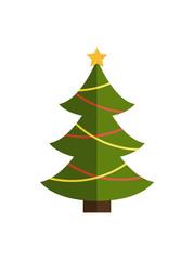 Traditional Christmas Tree on Vector Illustration