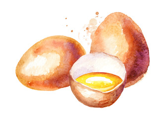 Eggs composition. Watercolor hand drawn illustration, isolated on white background