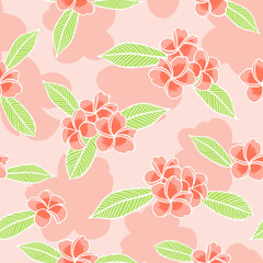 Summer floral pattern vector seamless. Outline red frangipani flowers on pink background. Design for tropical fabric, hawaiian textile, exotic wallpaper or wrapping paper.