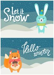 Let it Snow Hello Winter Set of Bright Postcards