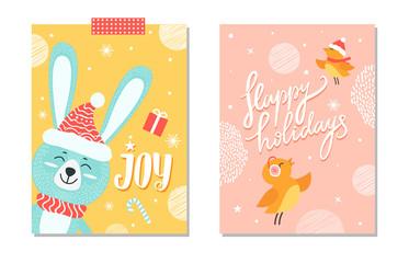 Happy Holidays Joy Poster with Smiling Rabbit Bird