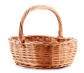 Obraz Empty wicker basket isolated on white - fototapety do salonu