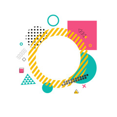 Circle Made of Yellow Lines on Vector Illustration