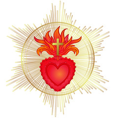 Sacred Heart of Jesus with rays. Vector illustration in red and gold isolated. Trendy Vintage style element. Spirituality, religion, Catholicism, Christianity, occultism, alchemy.