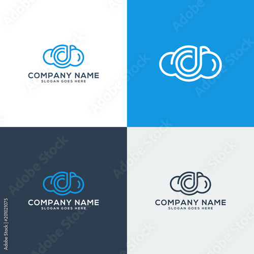 cloud logo template cloud icon with letter d shape stock image