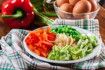 Ingredients ready for preparing egg fu yung