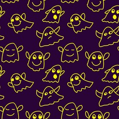 seamless pattern with ghosts