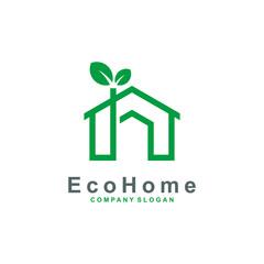 Creative Green House Concept logo design vector illustration