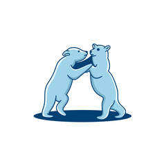 Cute polar bear, dancing - vector illustration