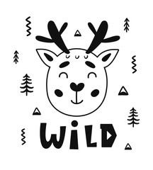Scandinavian style childish poster with cute deer animal and hand drawn letters