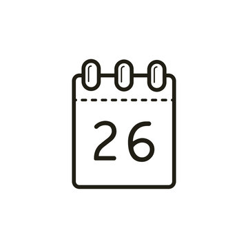 black and white linear icon of the tear-off calendar with number twenty six