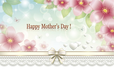 Mother's Day. Greeting card with a flower pattern and hearts