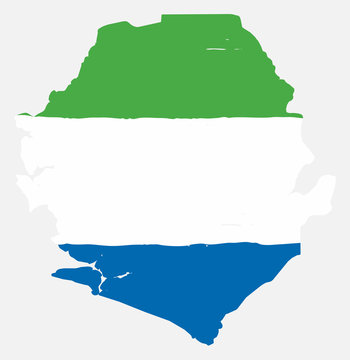 Sierra Leone Flag & Map Vector Hand Painted with Rounded Brush