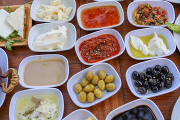 Traditional Turkish breakfast and breakfast table
