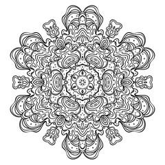 Vector ornamental mandala inspired ethnic art, patterned Indian paisley. Hand drawn illustration. Invitation element. Tattoo, astrology, alchemy,