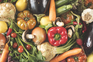 Wall Mural - Assortment vegetables high angle view