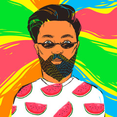 Hand drawn hipster man in dark sunglasses with beard and mustache dressed in t-shirt with watermelon. Vector summer illustration with colorful background for stylish design.