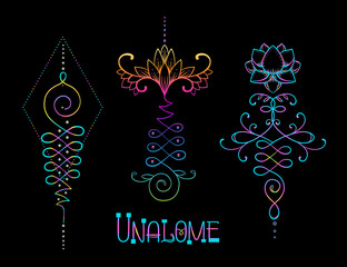 Lotus and Sacred Geometry. Unamole hindu symbol of wisdom and path to perfection. Set of tattoo flesh, yoga logo. Esoteric print, poster, t-shirt textile. Colorful rainbow signs set
