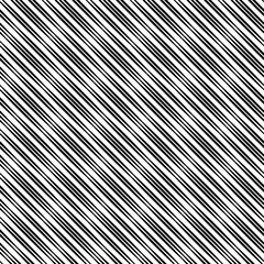 Reliefless infinite diagonal texture, black lines of variable width on white. Seamless vector pattern, repeat texture background.