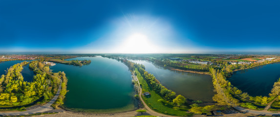 Luftaufnahme Silbersee und Altrheinarm in Roxheim bei Worms volle 360 Grad