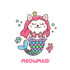 Cute white cat in a mermaid costume. With tail of a mermaid, crown, pearl, shell, coral and starfish. Meowmaid - wordplay meow and mermaid.