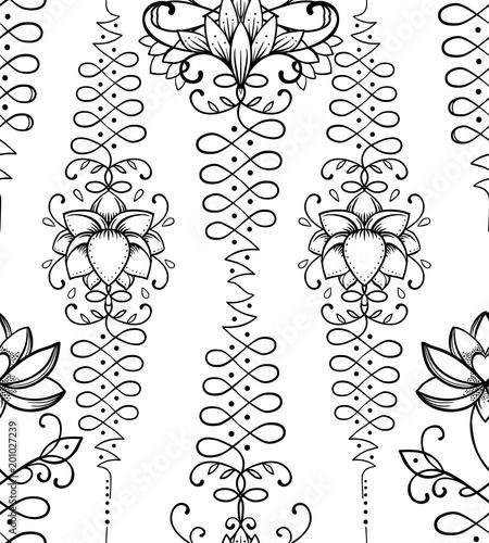 Lotus And Sacred Geometry Seamless Pattern Unamole Hindu Symbol Of