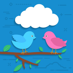 white paper cloud bubble with two flat colorful birds sitting on