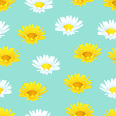 Flowers seamless pattern, floral background. Buds of yellow and white chamomile on turquoise background. For fabric design, wallpapers, wrappers, decorating. Vector illustration