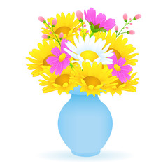 Bouquet of colorful flowers in the vase, vector drawing. Bright meadow buds yellow and white chamomile and pink flowers in a blue vase isolated on white background. Vector illustration