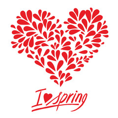 Handwritten inscription I love spring, with petals and heart shaped flowers, isolated vector