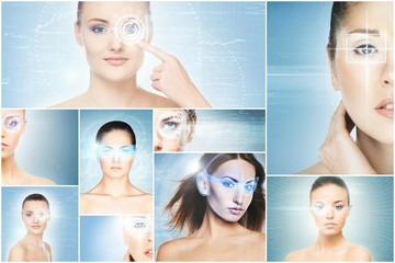 Women with a digital laser hologram on eyes collage. Ophthalmology, eye surgery and identity scanning technology concept.