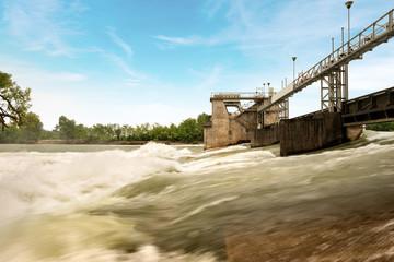 Photo sur Toile Barrage Old Dam in the Adige River - Verona Italy