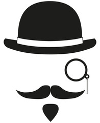 Black and white hipster avatar silhouette elements