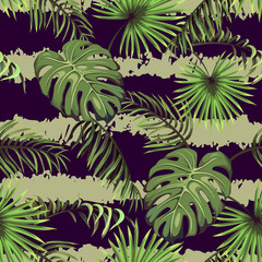 Striped seamless pattern with leaves of palm trees