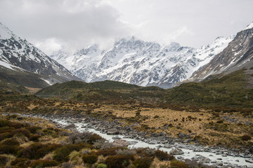 The beautiful landscape of Hooker Valley tracks in Aoraki / Mount Cook the highest mountains in New Zealand.