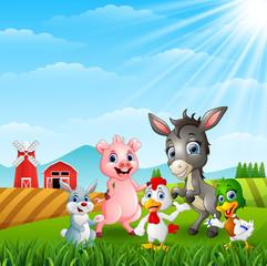 Happy little animals farm at hills