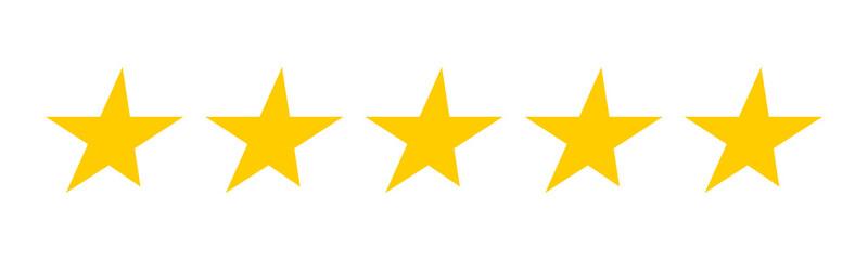 5 gold stars. set of vector stars