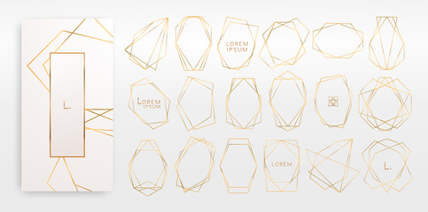 Gold collection of geometrical polyhedron, art deco style for wedding invitation, luxury templates, decorative patterns,... Modern abstract elements, vector illustration, isolated on backgrounds.