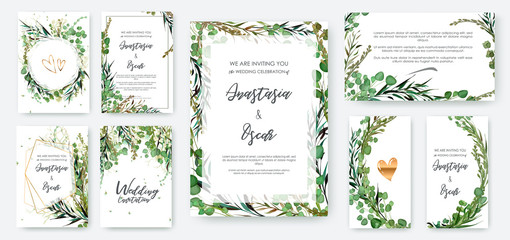 Wedding invitation frame set; flowers, leaves, watercolor, isolated on white. Sketched wreath, floral and herbs garland with green, greenery color. Handdrawn Vector Watercolour style, nature art. Fotoväggar