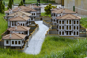 miniature models of historical houses and architectural structure