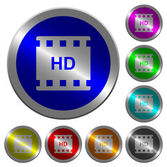 HD movie format luminous coin-like round color buttons