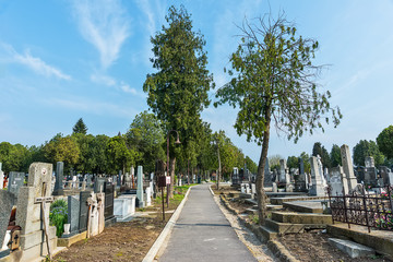 Belgrade, Serbia April 07, 2018: Zemun cemetery is the public cemetery situated in Zemun on the Gardos Hill.