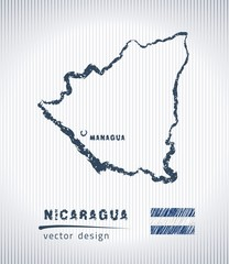Nicaragua national vector drawing map on white background