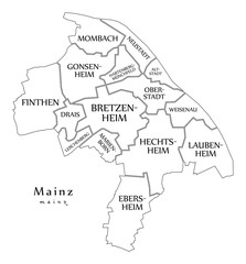 Modern City Map - Mainz city of Germany with boroughs and titles DE outline map