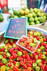 exotic peppers (piments cabri) on local market of Saint-Pierre,