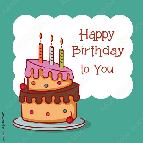 Birthday Card Design With Hand Drawn Birthday Cake Stock Image And