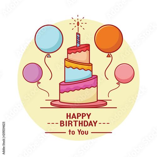 Flat Line Birthday Cake Illustration Invitation Card Background